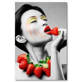 Αφίσα (μαύρο, λευκό, άσπρο, γυναίκα, φράουλες)